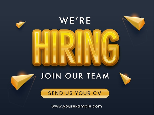 We're hiring join our team text with 3d golden geometric triangle elements on black background.