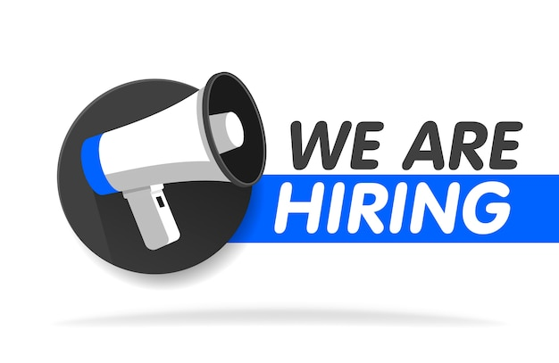 We're hiring web banner. megaphone with we are hiring speech on white background.  banner template illustration.