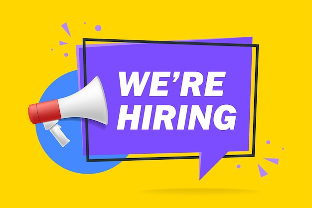 We're hiring web banner. megaphone with we are hiring speech on yellow background. vector stock illustration