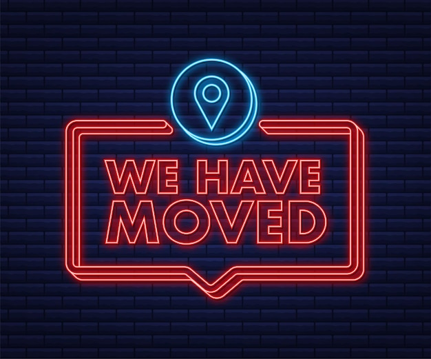 We re moving neon icon badge ready for use in web or print design