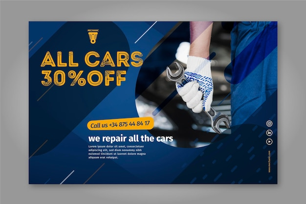 We repair all the cars mechanic banner