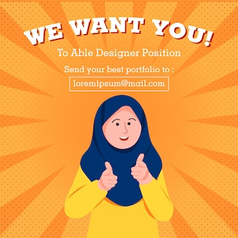 We want you poster template job hiring cartoon illustration