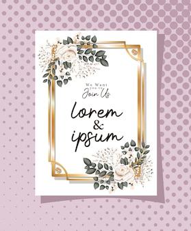 우리는 당신이 꽃과 잎이있는 금색 프레임의 텍스트와 함께하기를 바랍니다.