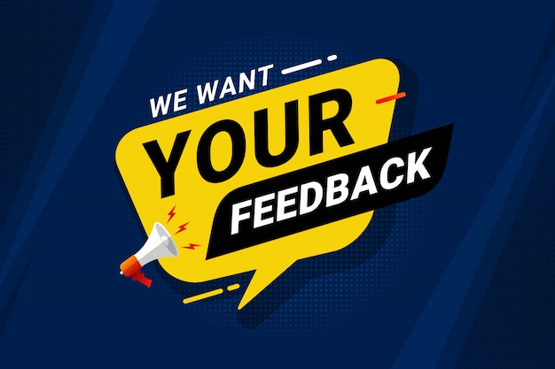 We want your feedback banner template Premium Vector