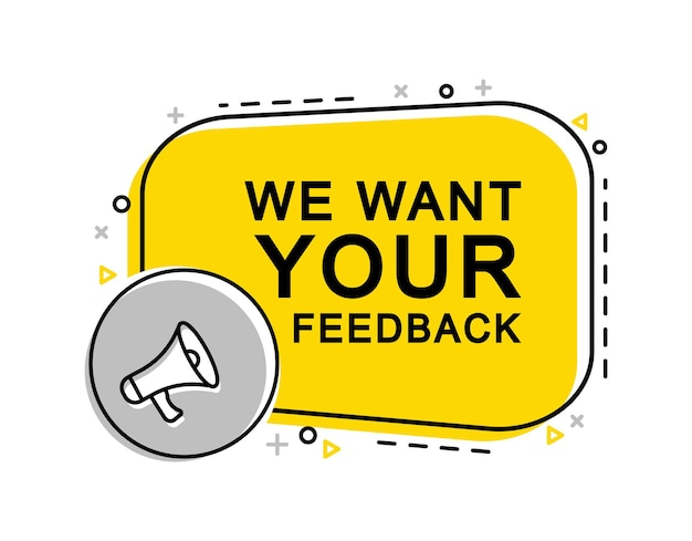 We want your feedback banner with megaphone and laptop. advertising, marketing.