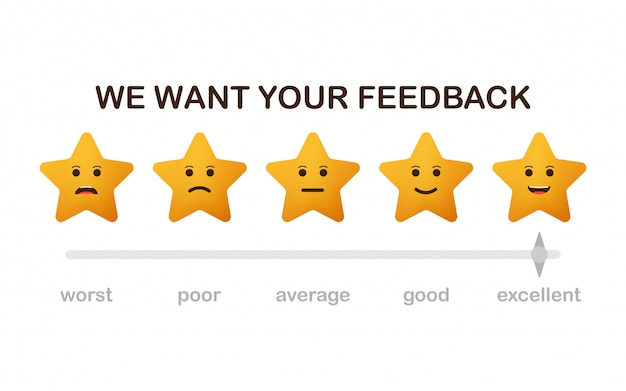 We want your feedback. review stars with happy and unhappy faces icons.