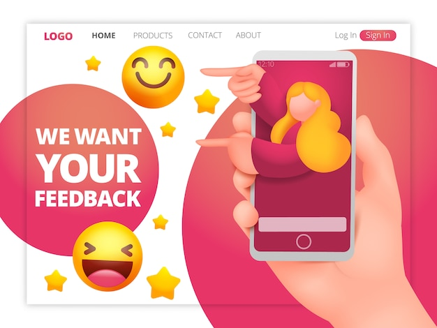 We want your feedback web page template with feemale assistant character