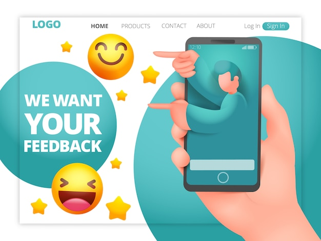 We want your feedback web page template with male assistant character
