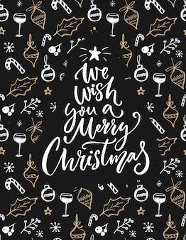 기분 좋은 크리스마스를 보내길 바래. 손으로 글자를 쓰고 스케치한 장식이 있는 인사말 카드.