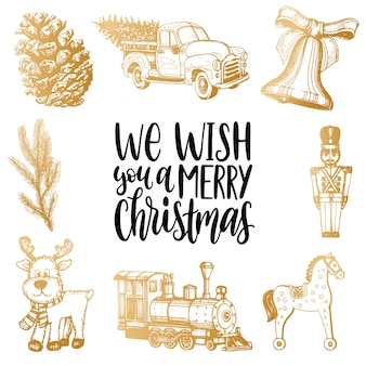 私たちはあなたに手描きのキリスト降誕のおもちゃのイラストでメリークリスマスのレタリングを望みます。