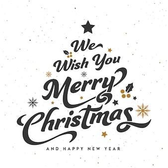 Мы желаем вам счастливого рождества и счастливого нового года шрифта на белом фоне