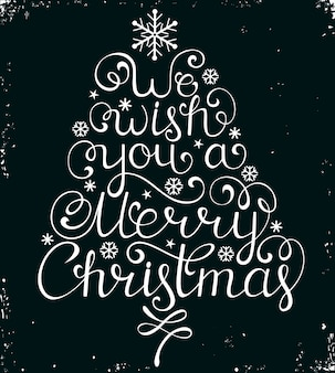 We wish you a merry christmas, greeting card with lettering