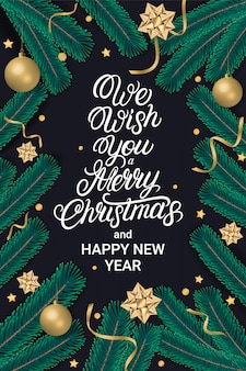 We wish you a merry christmas and happy new year lettering greeting card
