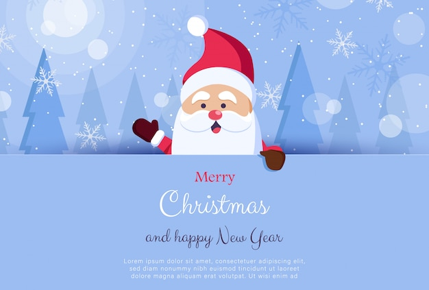 We wish you a merry christmas. happy new year. santa claus character with big signboard. holiday greeting card with christmas snow.   illustration.