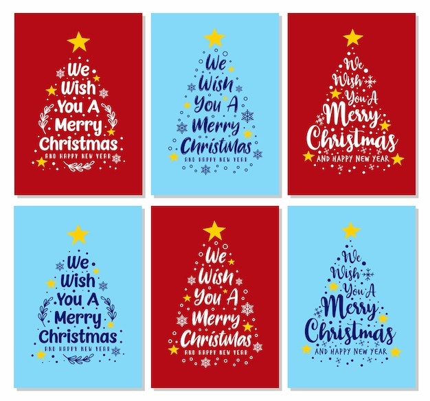 We wish you a merry christmas pine text cards