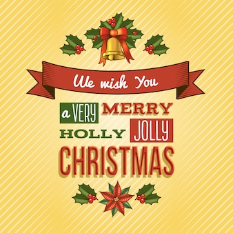We wish you a very merry holly jolly christmas lettering greeting