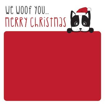 We woof you merry christmas and happy new year - boston terrier dog hand drawn lettering card design or poster background  .