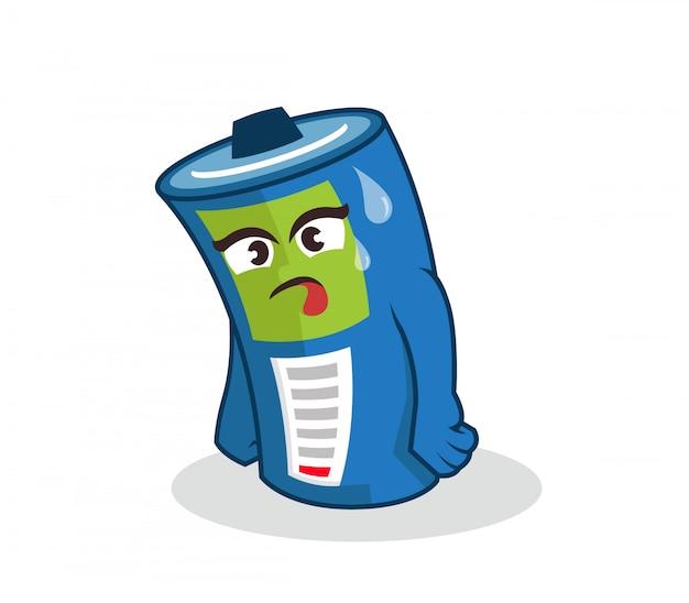 Weak battery mascot low energy