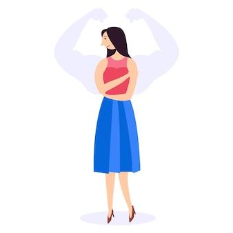 Weak woman silhouette muscular arms