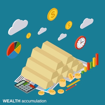 Wealth accumulation flat isometric concept illustration