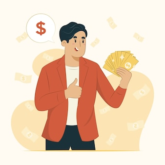 Wealth concept person holding money