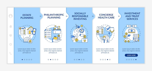 Wealth counselling onboarding vector template. responsive mobile website with icons. web page walkthrough 5 step screens. estate planning, concierge healthcare color concept with linear illustrations