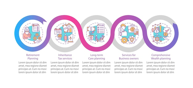 부 안내 벡터 infographic 템플릿입니다. 비즈니스 소유자 프레젠테이션 디자인 요소를 위한 서비스입니다. 5단계로 데이터 시각화. 프로세스 타임라인 차트. 선형 아이콘이 있는 워크플로 레이아웃