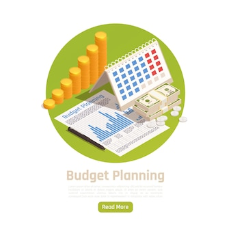 Wealth management. budget planning with isometric calendar