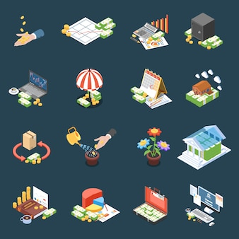 Wealth management isometric icons with financial statistics and operations net profit on dark  isolated