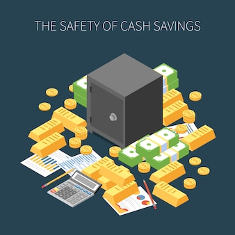 Wealth management safety of cash savings isometric composition on dark