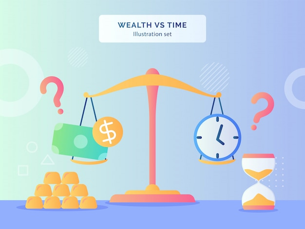 Wealth vs time illustration set money dollar clock on scale of gold hourglass with flat style.