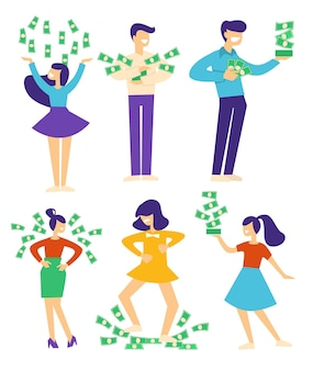 Wealthy characters throwing banknotes, happy people with pile of money. winning lottery or getting loan, celebrating success at work. salary or wages, deposit and income. vector in flat style