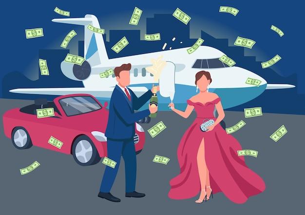 裕福なカップルのオープニングシャンパンボトルフラットカラーイラスト