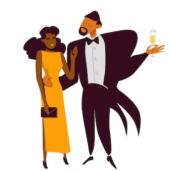 いちゃつく新年会で裕福なエレガントなアフリカ系アメリカ人のカップル