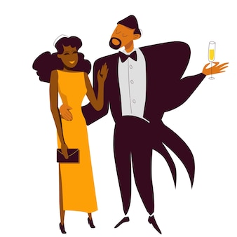 Wealthy elegant african american couple at a new year party flirting