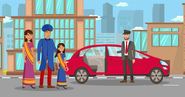 Wealthy indian family waiting for car illustration