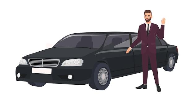高級リムジンの横に立って手を振るエレガントなスーツを着た裕福な男。金持ちまたは男性の有名人と彼の高級車または自動車。フラット漫画スタイルのカラフルなベクトルイラスト。