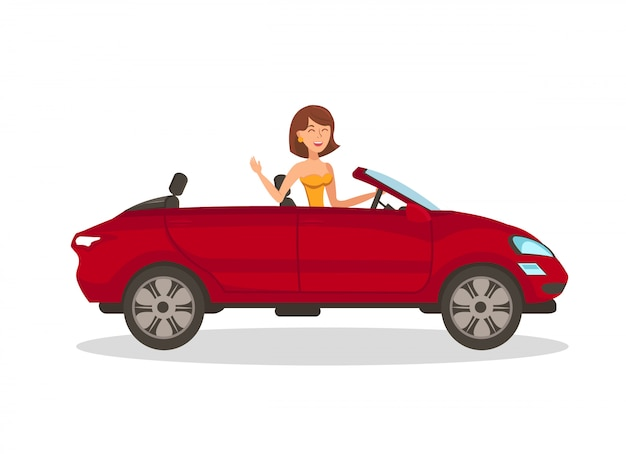 Wealthy woman in car flat vector illustration