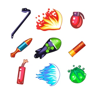武器と爆弾のアイコンイラストセット