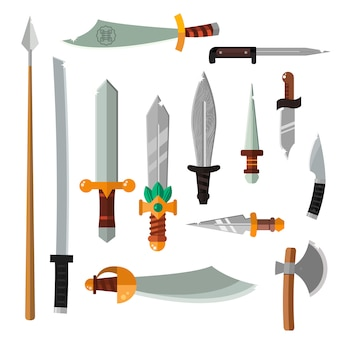 Weapon collection swords, knives, axe, spear with gold handles cartoon illustration.