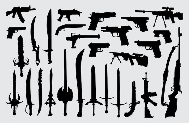 Weapon, gun, pistol, and sword silhouette