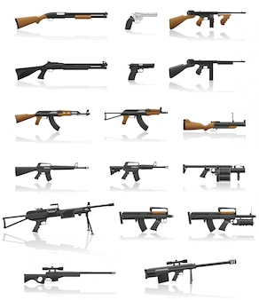 Weapon and gun set collection vector illustration