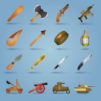 Набор иконок оружия Бесплатные векторы