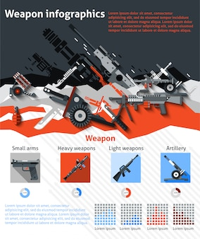 Weapon infographics set