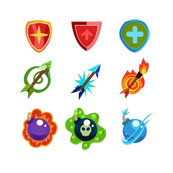 Weapon and shield icons set for games