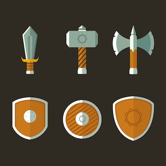 Weapon and shield illustration