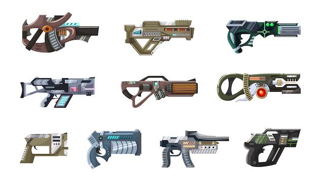 Weapon vector space gun blaster laser gun with futuristic handgun