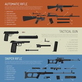 武器と銃の水平方向のバナー