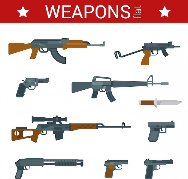 Weapons cartoon flat design illustrations set.