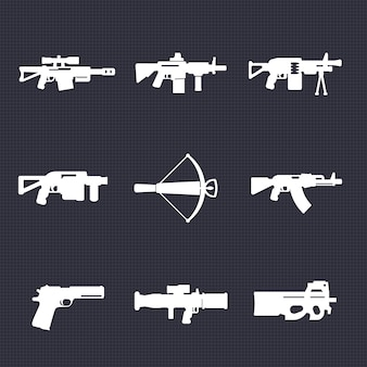 Weapons, firearms icons set, automatic guns, sniper and assault rifles, crossbow, pistol, grenade, rocket launchers, vector illustration
